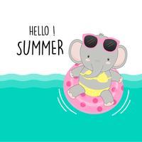 Bonjour l'été mignon cochon étaient dessin animé bikini et anneau de natation.