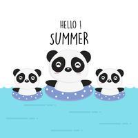 Bonjour été mignon dessin animé panda. vecteur
