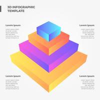Vecteur d'infographie pyramide 3D plat