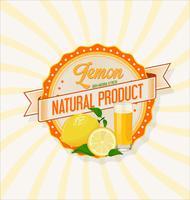 Verre de jus de citron avec fond de fruits vecteur