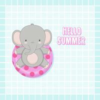 Bonjour l'été mignon éléphant étaient bande dessinée anneau de bain. vecteur