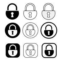 Ensemble de simple icône de verrou de signe vecteur