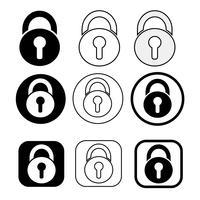Ensemble de simple icône de verrou de signe