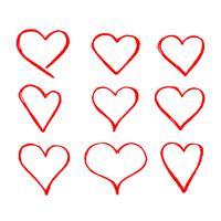 Signe d'icône coeur dessiné à la main vecteur