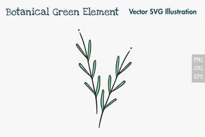 Élément vert botanique dessiné à la main. vecteur