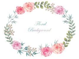 Aquarelle fleur ovale cadre / fond avec espace de texte vecteur