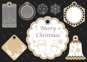 Ensemble d'étiquettes de cadeaux de Noël et de nouvel an assortis.