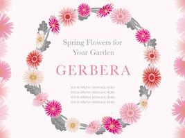 Couronne de fleurs de printemps, illustration vectorielle.