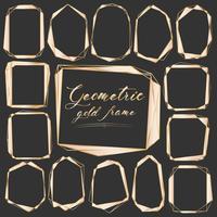 Ensemble de cadre doré géométrique, élément décoratif pour carte de mariage, invitations et logo. Illustration vectorielle vecteur