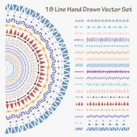 18 lignes dessinées à la main Vector Set. Illustration vectorielle à la main.