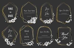 Ensemble de cadre géométrique, fleurs dessinées à la main, composition botanique, élément décoratif pour carte de mariage, illustration vectorielle d'invitations.