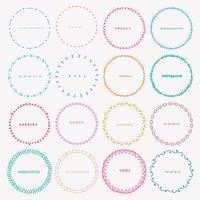 Ensemble de cadres ronds colorés pour la décoration. Illustration vectorielle à la main.