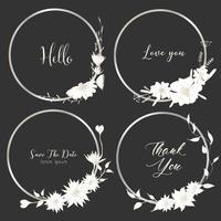 Ensemble de diviseurs ronds cadres, fleurs dessinées à la main, composition botanique, élément décoratif pour carte de mariage, illustration vectorielle Invitations. vecteur