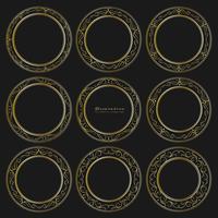 Ensemble de style vintage décoratif cadres ronds dorés. Illustration vectorielle