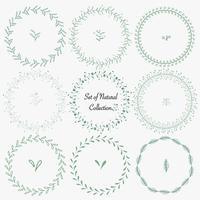 Ensemble de cadres ronds dessinés à la main pour la décoration. Collection naturelle de vecteur.