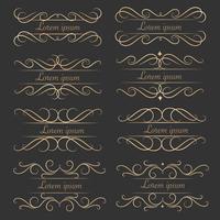 Ensemble d'éléments calligraphiques décoratifs luxueux pour la décoration. vecteur