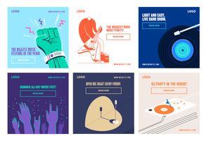 Modèle de collection post de festival de musique de médias sociaux vecteur