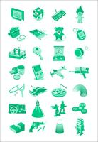 Icônes d'illustration de jouets et jeux