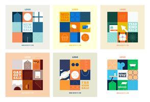 Modèle de collection de publication de magasinage en ligne de médias sociaux vecteur