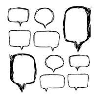 Bulle de dialogue icône dessinée à la main vecteur