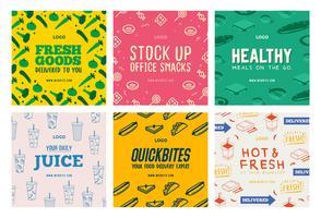 Modèle de collection post de médias sociaux de livraison de boissons alimentaires vecteur