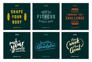 Fitness gym citations modèle de collecte de motivation médias sociaux post vecteur