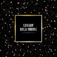 Glold rougeoyant cadre carré magique sur l'effet de traînée de paillettes scintillantes sur fond noir. Style de luxe.