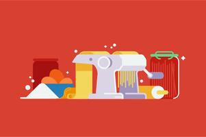 Machine à pâtes machine illustration ensemble vecteur