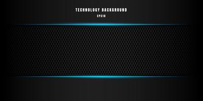 Modèle de technologie abstraite style métallique bleu brillant couleur noire cadre mise en page moderne et moderne texture design carbone fond et texture