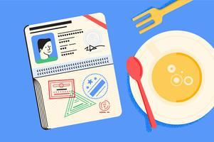 Set d'illustration de l'essentiel de voyage de passeport