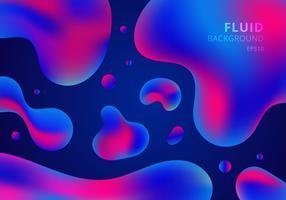 Composition fluide de formes colorées fond dégradé bleu et rose. Dessin géométrique abstrait liquide. vecteur
