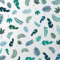 Palmier tropical l'été laisse motif de couleur verte sur fond blanc.