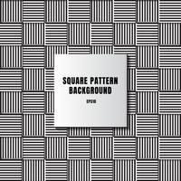 Mosaïque abstraite noire et blanche de carrés avec lignes et lignes verticales et horizontales