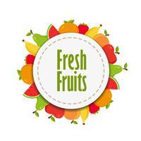 Autocollant de fruits frais vecteur