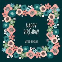 Design floral Vector avec fleurs mignonnes. Modèle de carte, affiche, flyer, maison d cor