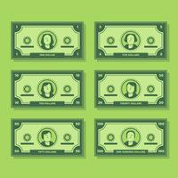 Dessin animé billet de banque dollar en espèces plate Icon Set Illustration