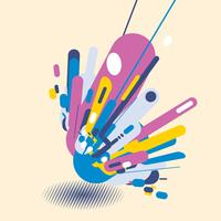 Style moderne abstrait avec une composition composée de diverses formes arrondies dans des formes colorées de design pop art. Fond de perspective d'éléments géométriques avec demi-teinte de l'ombre