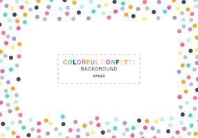 Cadre rectangle abstrait confettis colorés sur fond blanc avec un espace pour le texte. Vous pouvez utiliser pour les cartes de vœux, les bannières web, les affiches, les brochures, les impressions, etc. vecteur