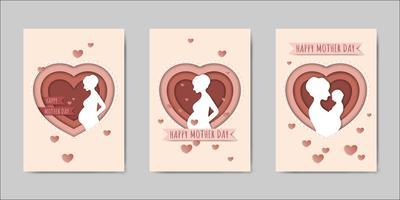 Bonne fête des mères lettrage cartes de vœux vecteur