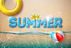 Illustration de vecteur été avec ballon de plage et flotteur sur fond de sable de l'océan. Conception de vacances de vacances d'été