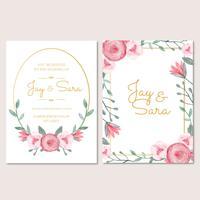 Modèle d'invitation de mariage avec des fleurs vecteur
