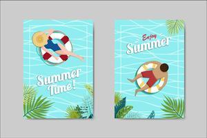 Belle carte de lettrage carte d'été, vecteur