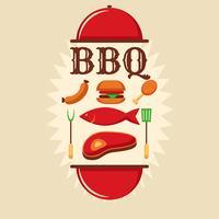 affiche rétro barbecue vecteur