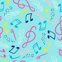 Modèle sans couture avec des notes de musique. Fond de main vecteur dessiner