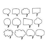 Icône de dessin main bulle discours vecteur