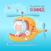 Illustration d'une impression pour la chambre d'enfants habillant un lama mignon en hélicoptère avec des fleurs.