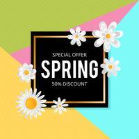 Fond de vente de printemps avec belle fleur colorée. Illustration vectorielle template.banners.Wallpaper.flyers, invitation, affiches, brochure, remise de bon d'achat.