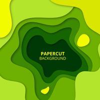 Papier vert coupé de fond vecteur