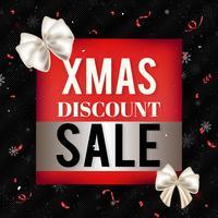 Bannière de vente de Noël rouge avec des arcs soyeux blancs, des confettis et des flocons de neige sur fond noir