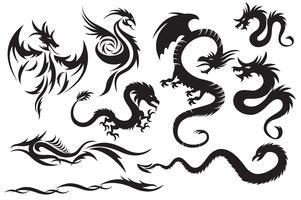Dragons tribaux. Ensemble des dragons chinois, tatouage tribal vecteur